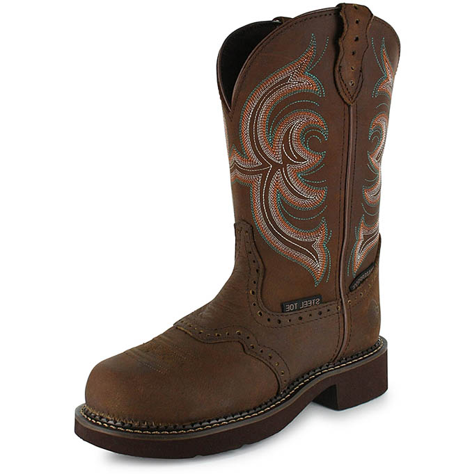 Popular Image For Justin Women39s Stampede Steel Toe Western Work Boots From
